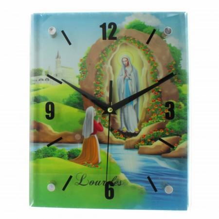 Horloge de Lourdes moderne sous verre 20x25cm