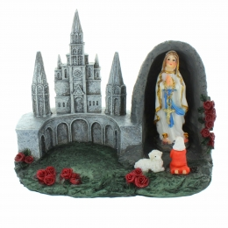 Statue de l'Apparition et de la Basilique de Lourdes en résine 13cm