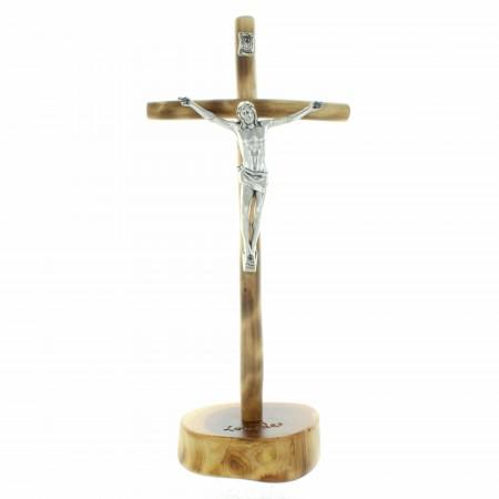 Crucifix bois sur socle en bois  avec le Christ argenté 21cm