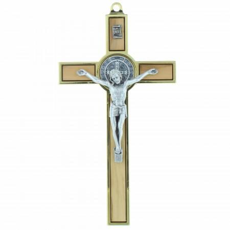 Crucifix de Saint Benoît en bois d'olivier et métal doré 13cm