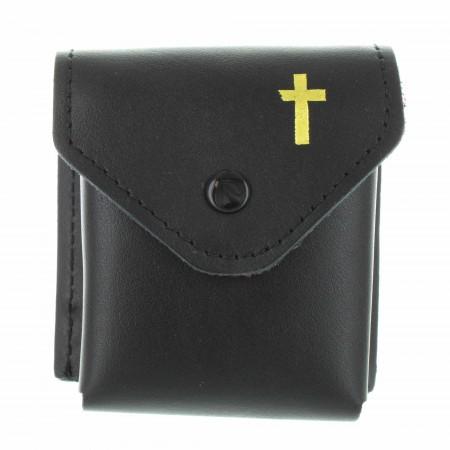 Etui à chapelet en cuir noir avec une croix dorée