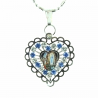 Collana in argento con ciondolo a forma di cuore dell'Apparizione di Lourdes