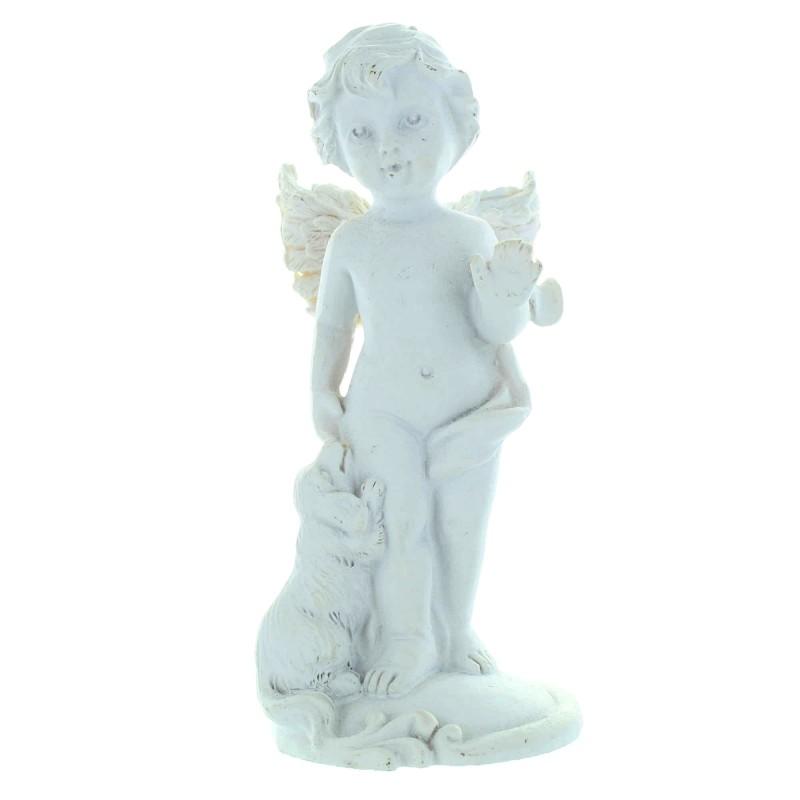 Statue Ange Gardien blanc avec un chien ou un chat 10cm