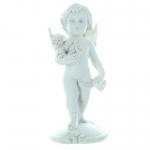 White Angel Statue with a dog or a cat 10cm