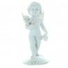 Statua angelo bianco con cane o gatto 10cm