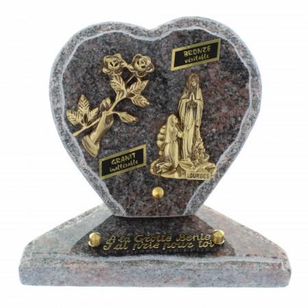Lourdes Lapide cimeteriala a forma di cuore in granito 18x18cm