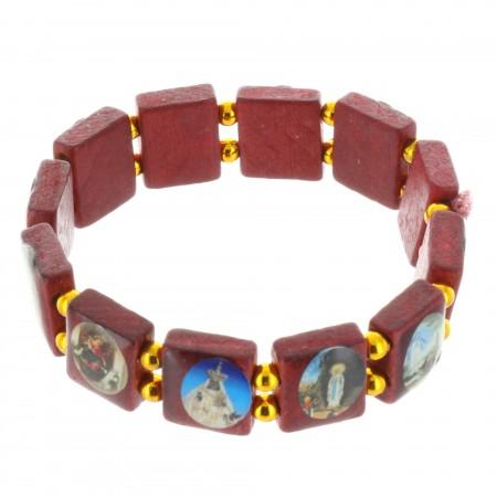 Religious Bracelet Saints pictures on square wood beads