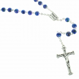 Glass rosary rose drawings beads and Lourdes centerpiece