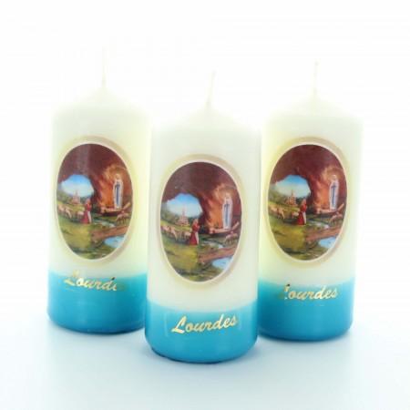 Set of 3 Lourdes candles with blue base 9cm