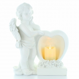 Angel statue standing in resin with a heart containing a candle 30cm