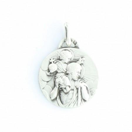 Médaille en Argent de Saint Christophe à l'Enfant Jésus