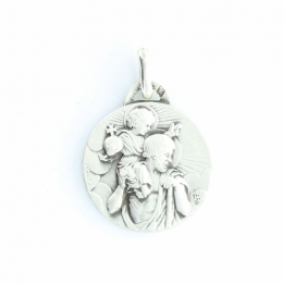 Silver Medal of Saint Christopher with Child Jesus