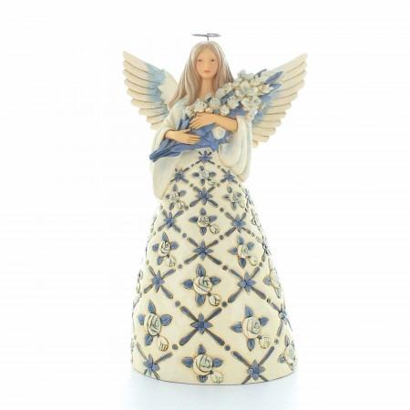 Statue d'Ange gardien avec un bouquet de roses | Résine | 24cm