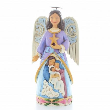 Statue Ange de Noël en résine avec une étoile | Résine | 12cm