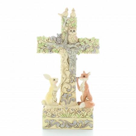 Croix Chrétienne pour enfant entourée d'animaux | Résine | 18,5cm
