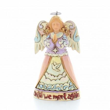 Statue d'Ange gardien avec sa croix chrétienne | Résine | 12cm