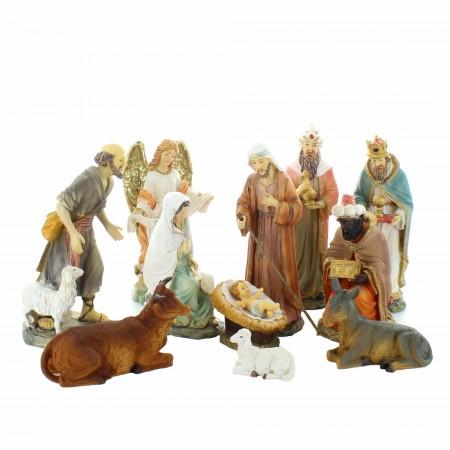 Crèche de Noël complète de 11 sujets colorée | Résine | 14cm