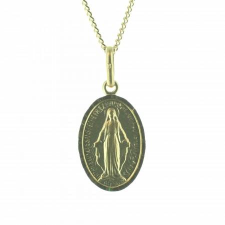 Medaglia della Vergine miracolosa con catena placcata in oro