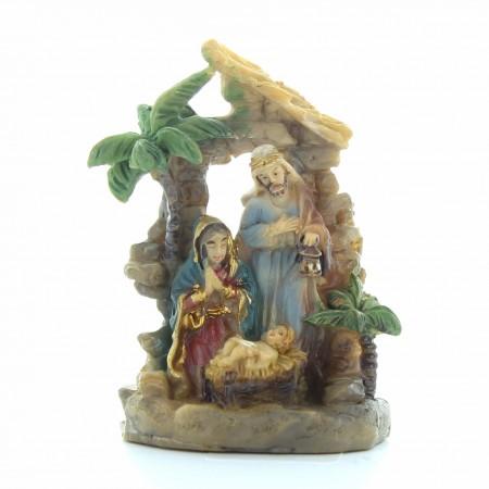 Presepe della Sacra Famiglia con palma | Resina | 5cm