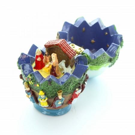 Presepe in miniatura della Sacra Famiglia in un uovo | Resina | 7cm