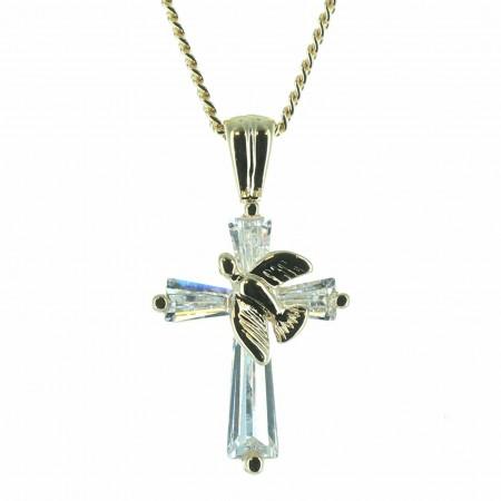 Parure avec une croix et une colombe avec une chaîne   Plaqué Or