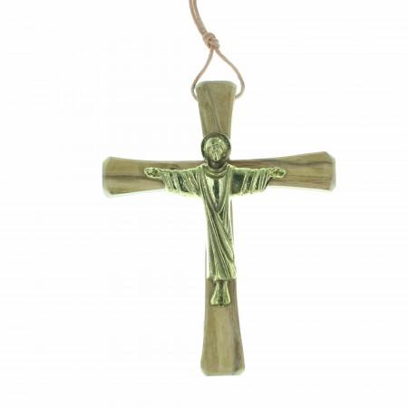 Crucifix du Christ Glorieux   Bronze et bois d'olivier   14cm