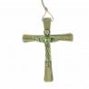 Crucifix du Christ Glorieux en Bronze et bois d'olivier de 14cm