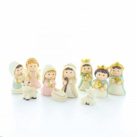 Crèche de Noël de 10 sujets | Résine | 6,5cm