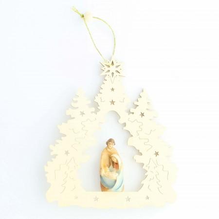 Decorazione natalizia appesa della Sacra Famiglia | Legno | 15cm