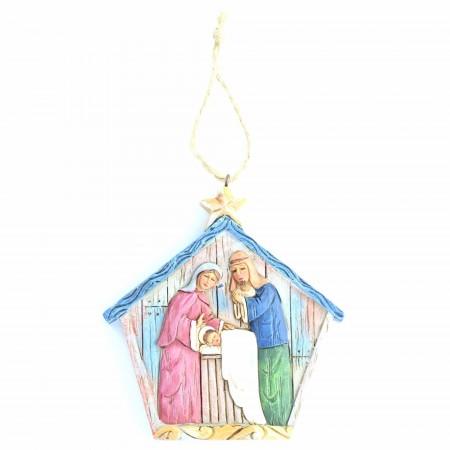 Decorazione natalizia pendente della Sacra Famiglia | Resina | 9.5cm