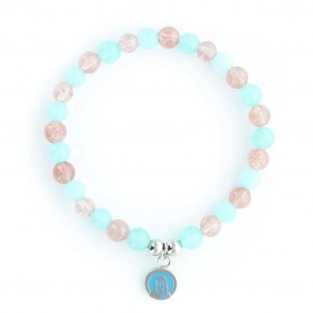 Bracelet of the Virgin of Lourdes with aquamarine and rose quartz stones